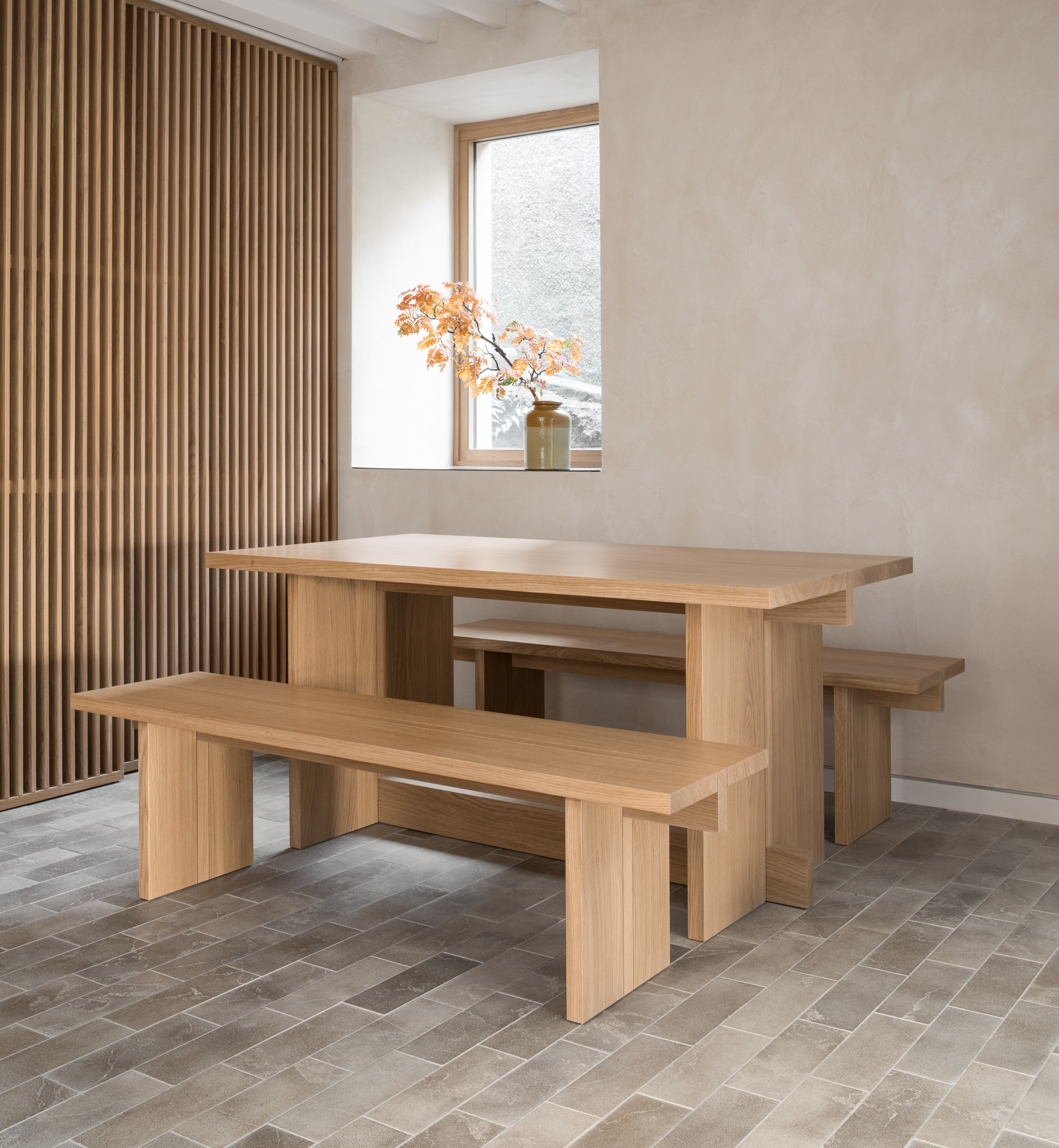 Porteous' Handmade Oak Dining Table and Benches