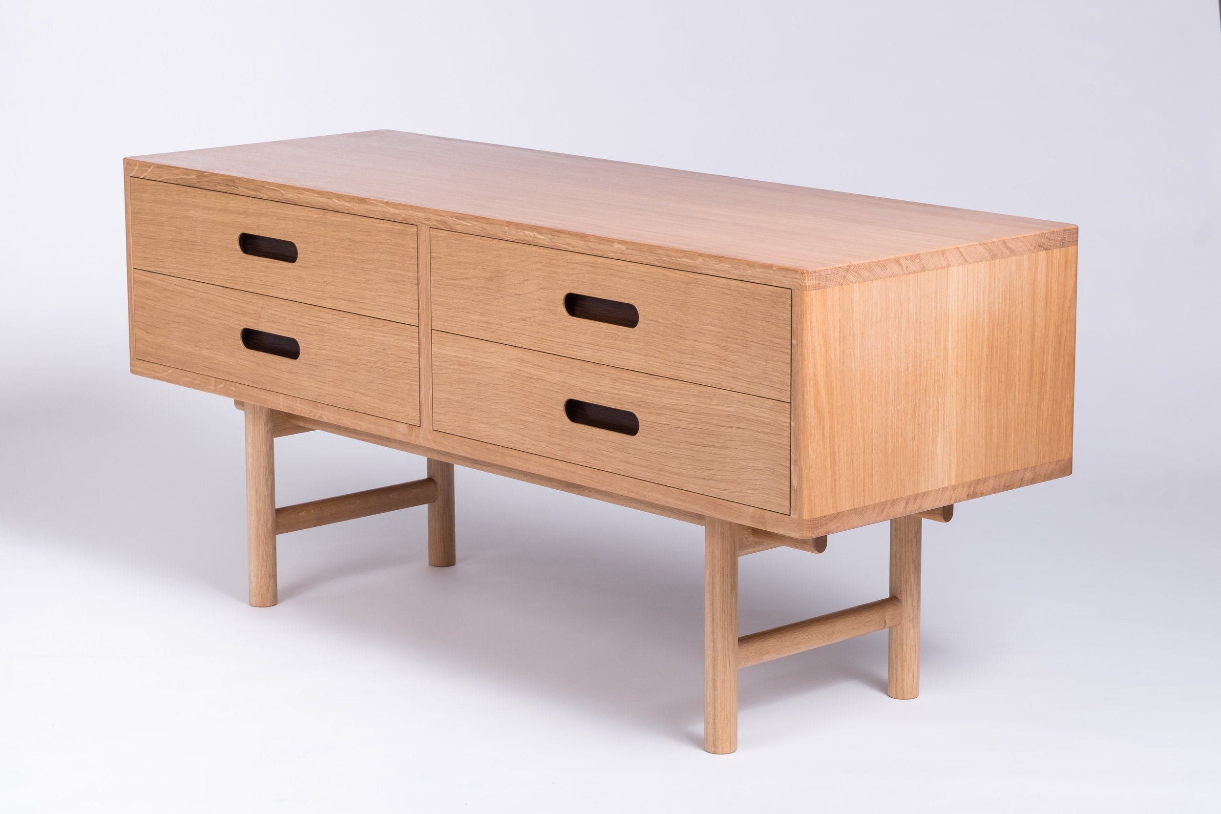 Oak and Sycamore cabinet with drawers