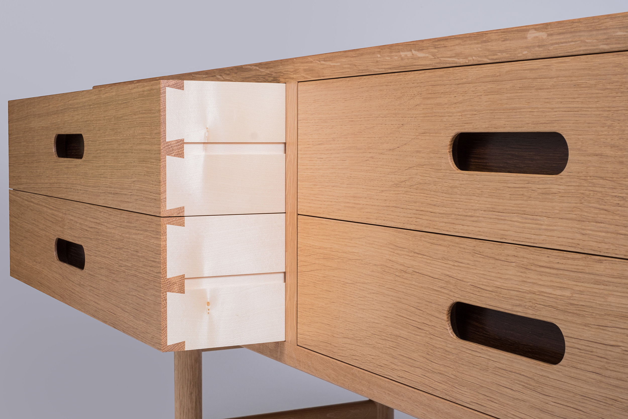 blind dovetail detail in Oak and Sycamore