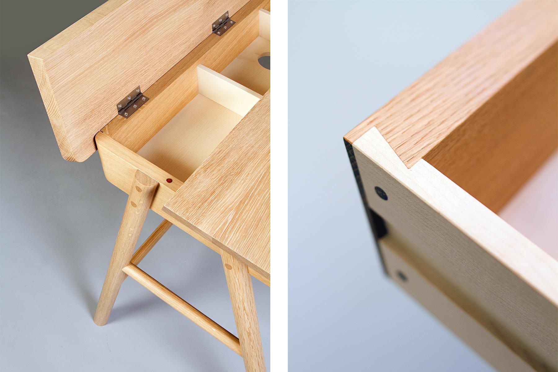 European Oak writing desk blind dovetail detail