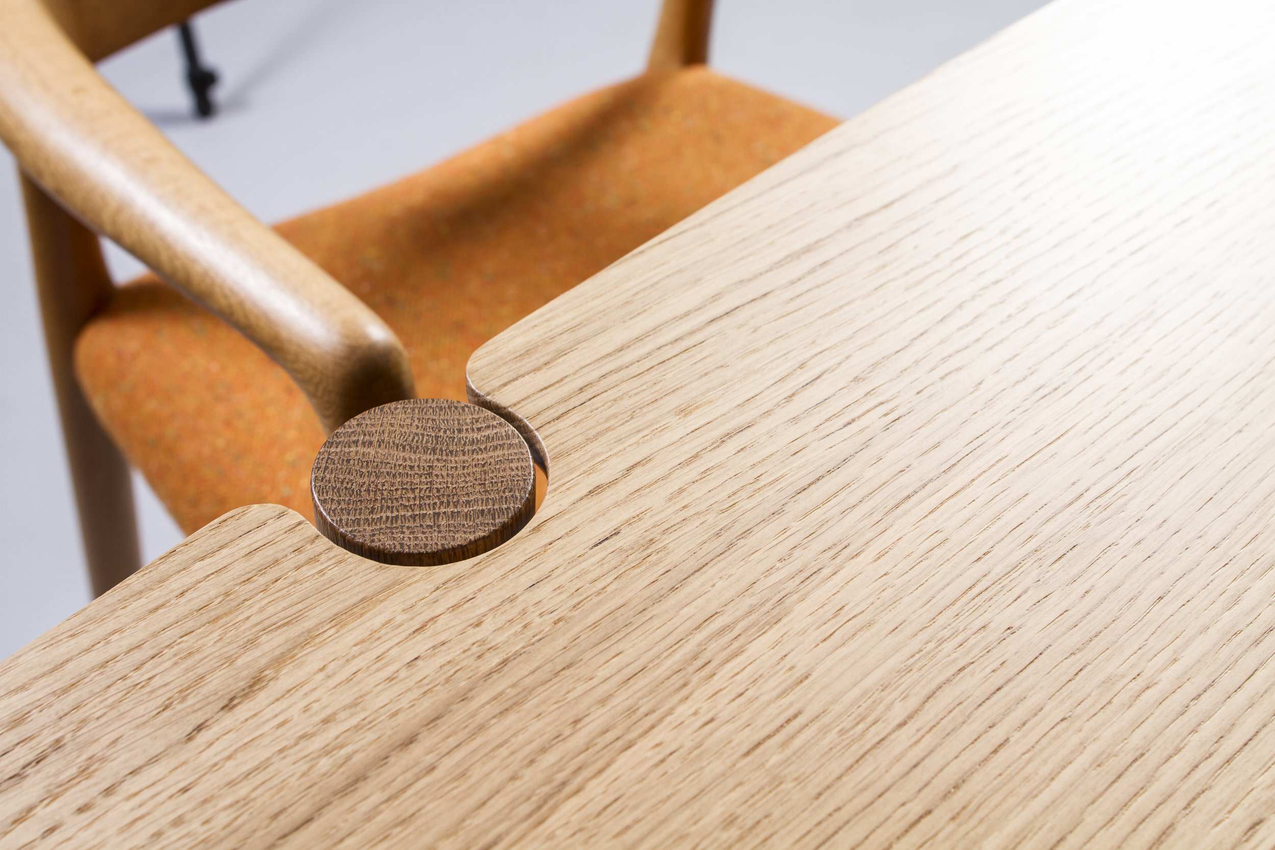 detail of bespoke handmade dining table in European Oak