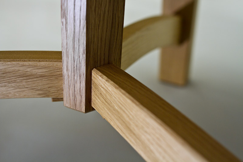 bespoke commission for dining table in Oak detail