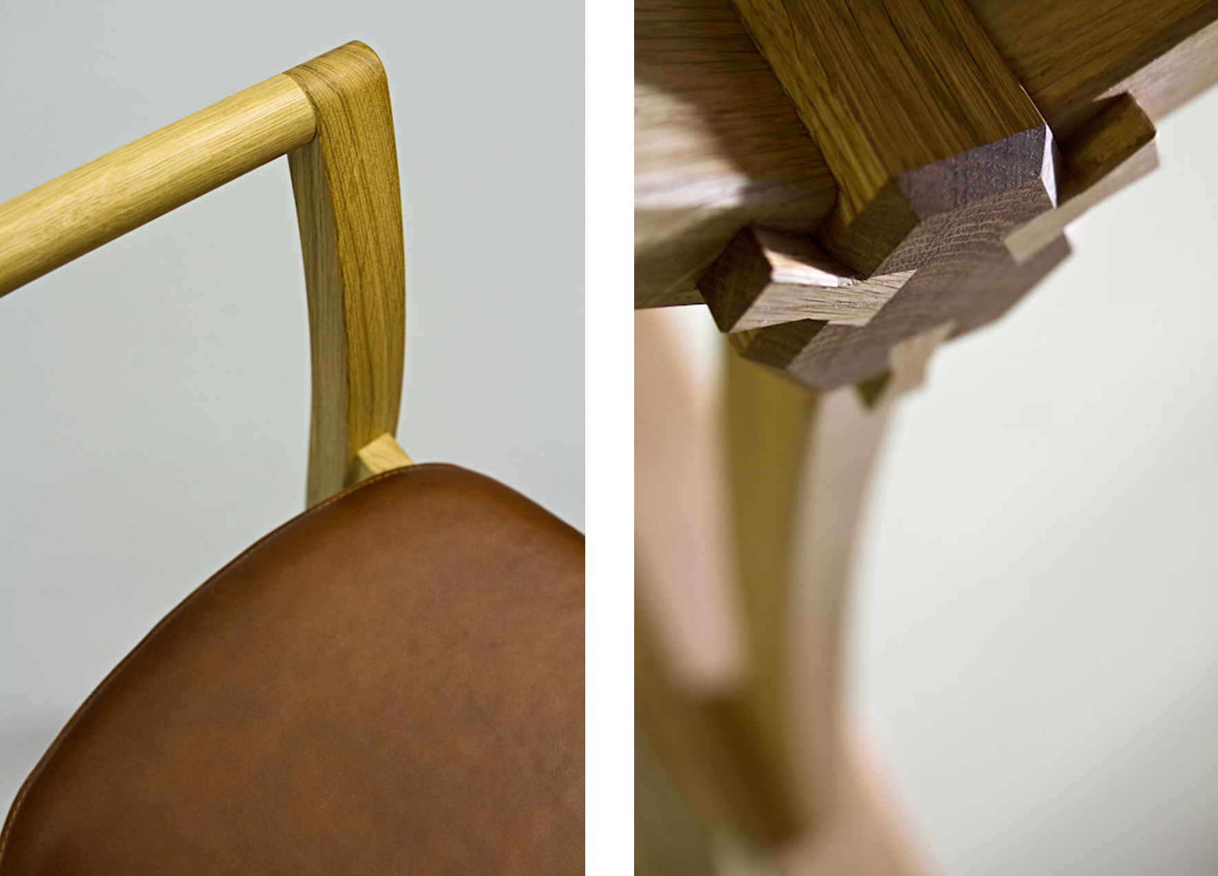 Oak table and chair detail