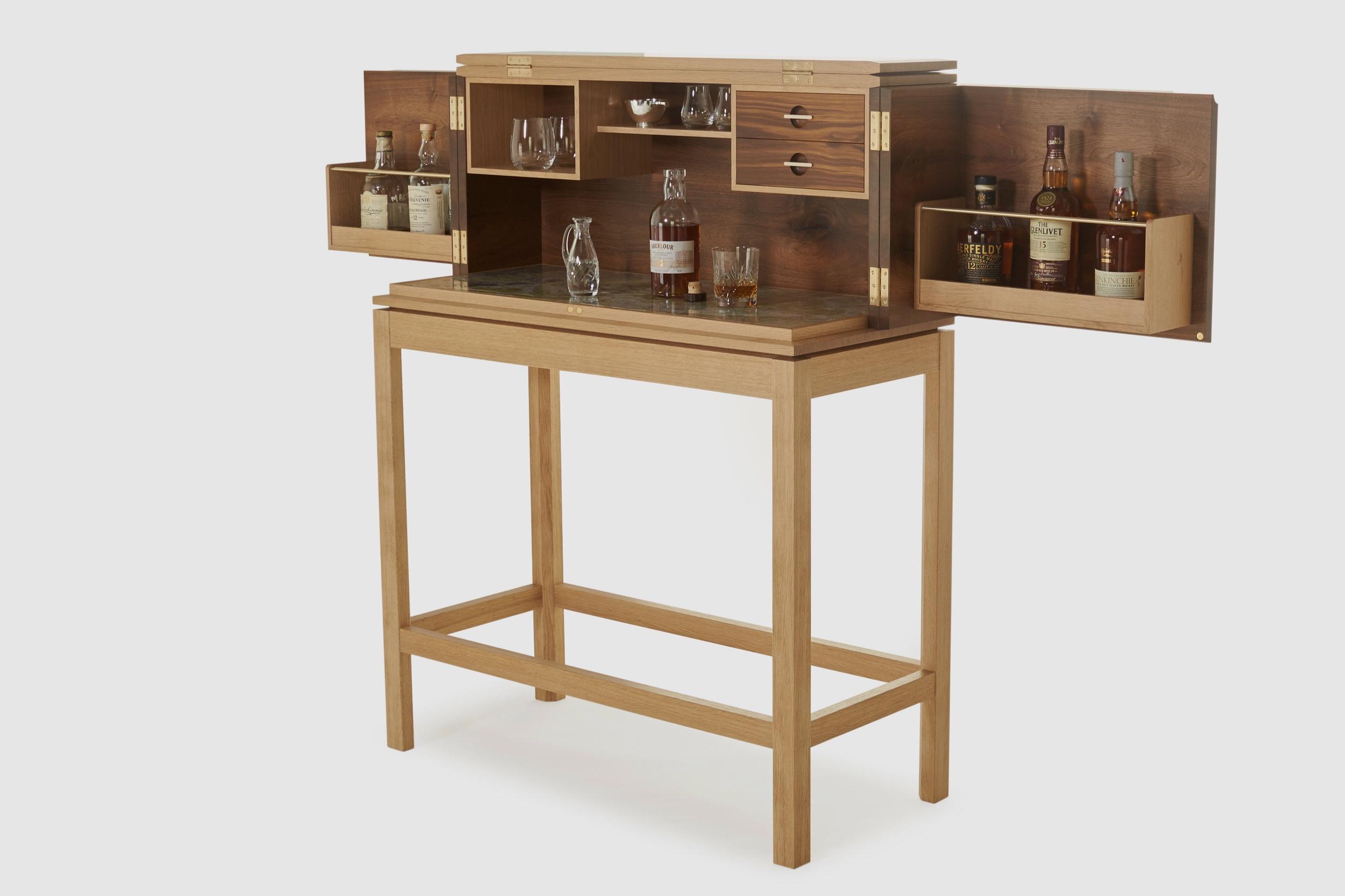 Walnut and oak Scottish whisky cabinet