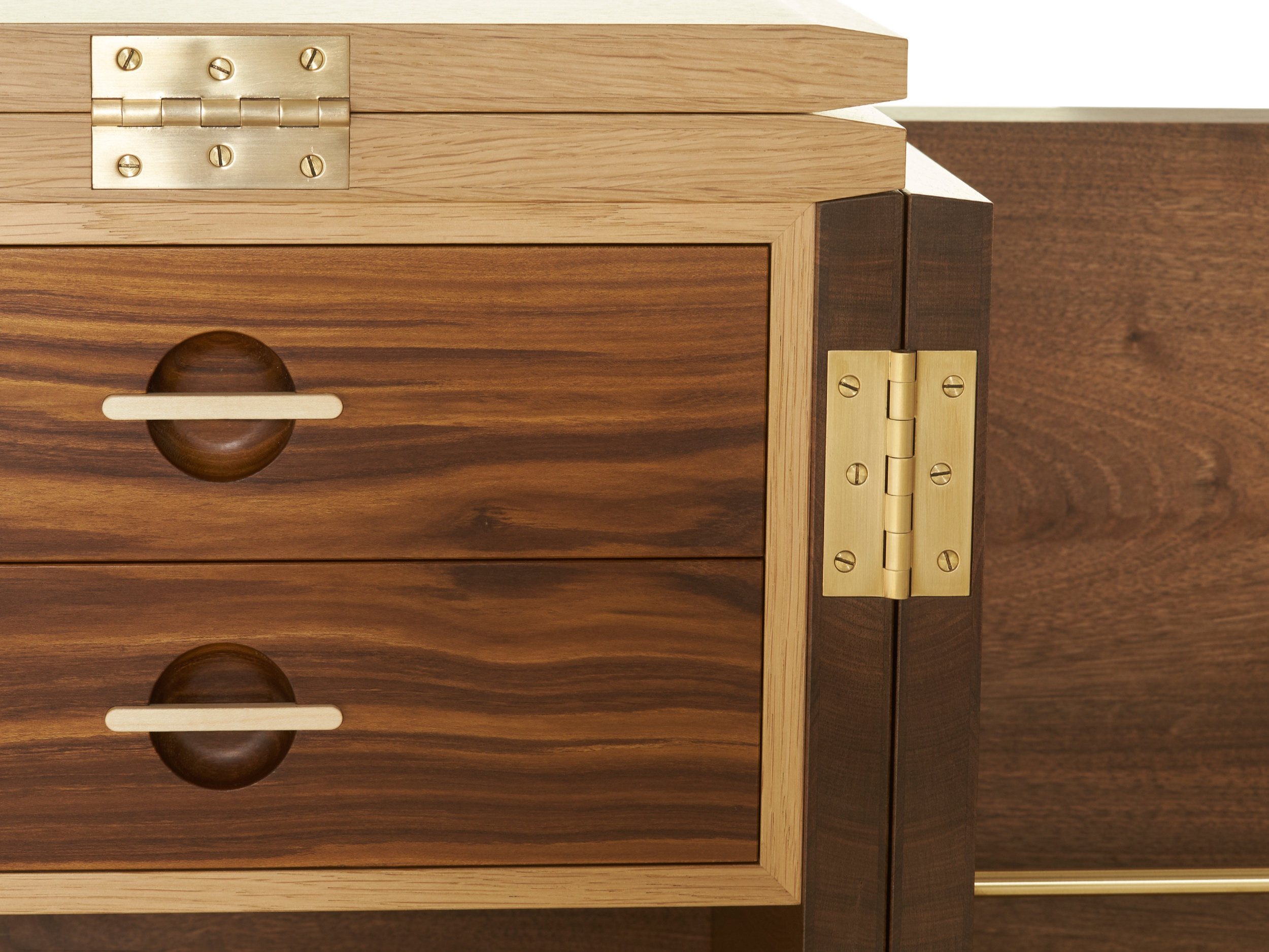 sycamore and laburnum drawer handle detail on Whisky Cabinet