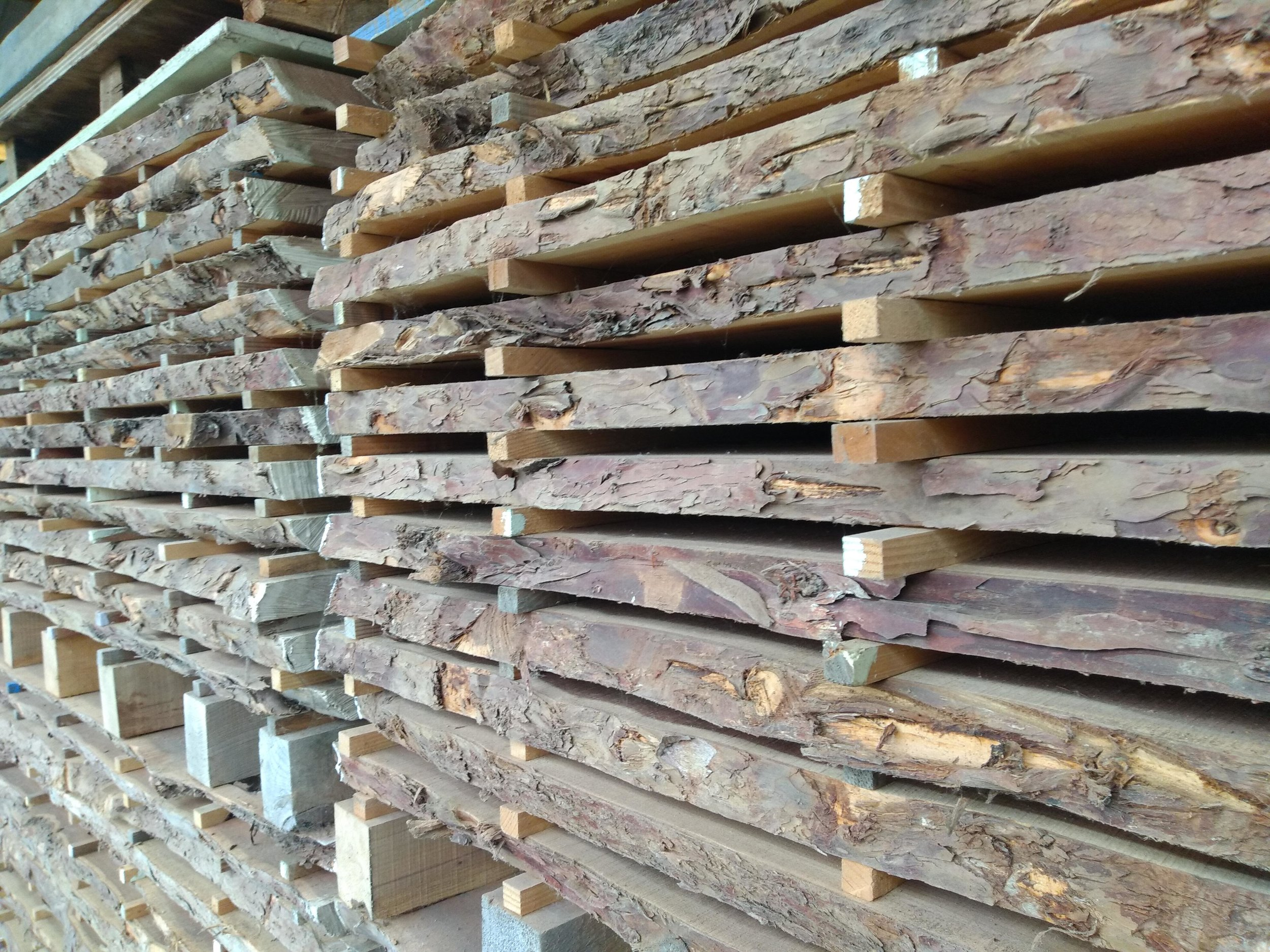 Timber stacked for selection for custom hand crafted bespoke furniture design