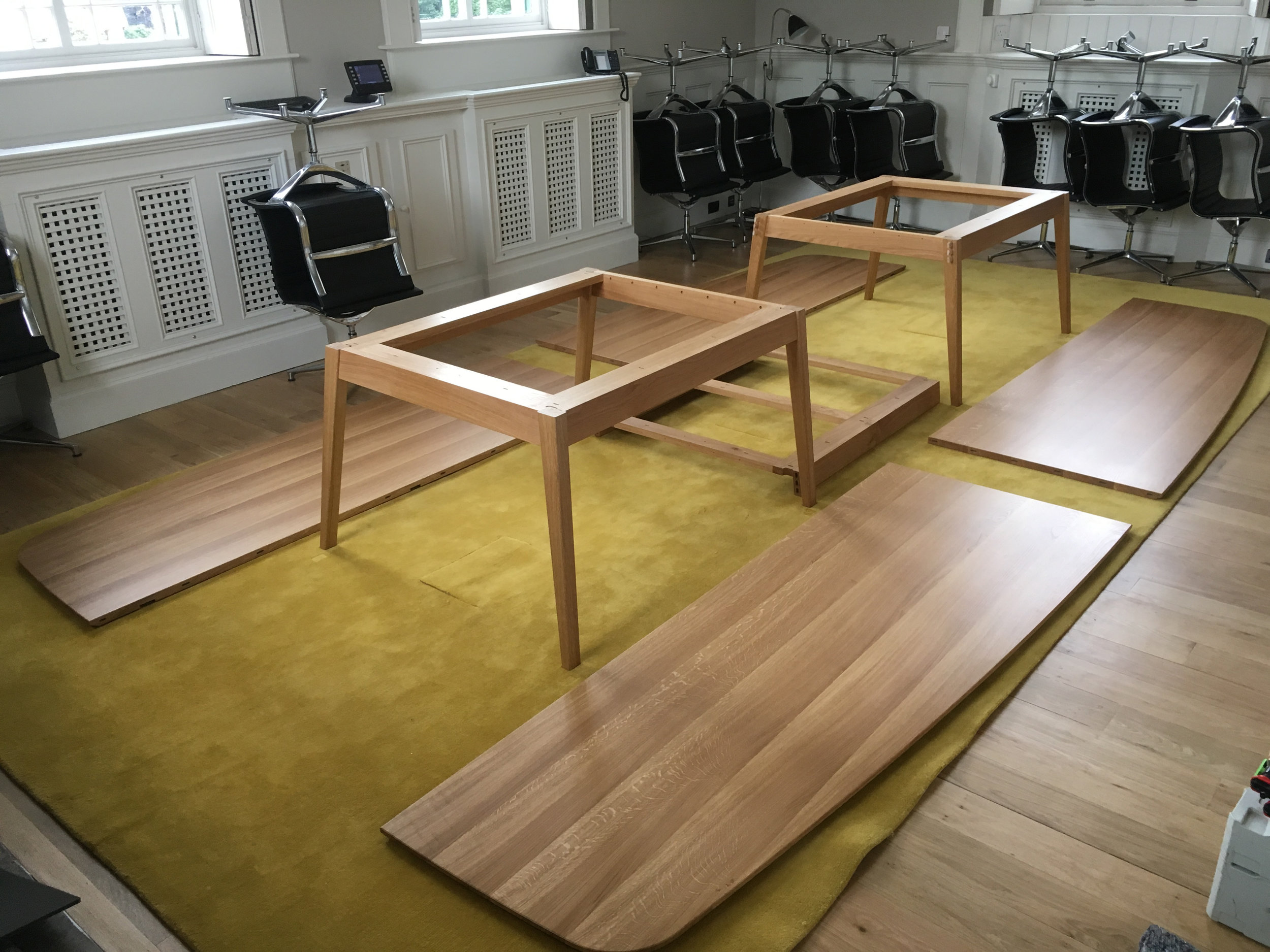 Oak boardroom table construction