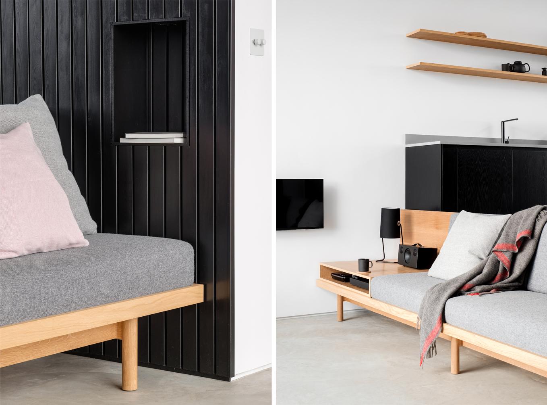 black h sofa