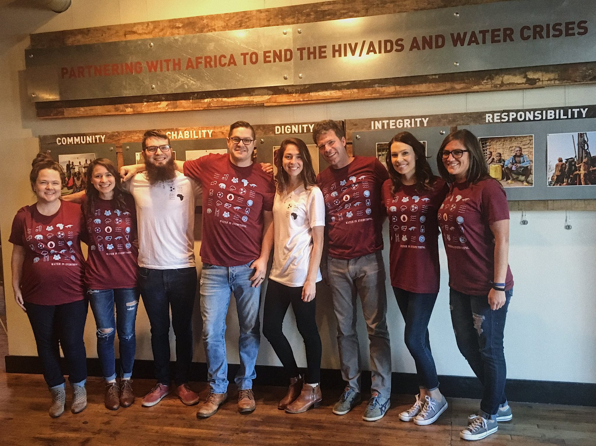 """The Blood:Water team rocking their """"Water is Everything"""" tees on World Water Day."""