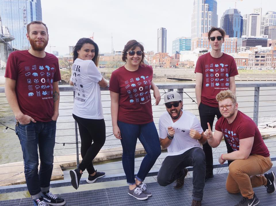 """The Project 615 crew repping the """"Water is Everything"""" tees to support Blood:Water's mission to end the HIV/AIDS + water crises in Africa."""