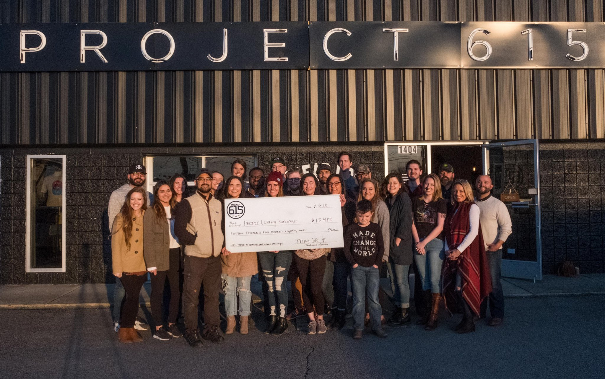 Over $15,000 was raised for People Loving Nashville to provide meals for the homeless community through our Made to Change the World tees.