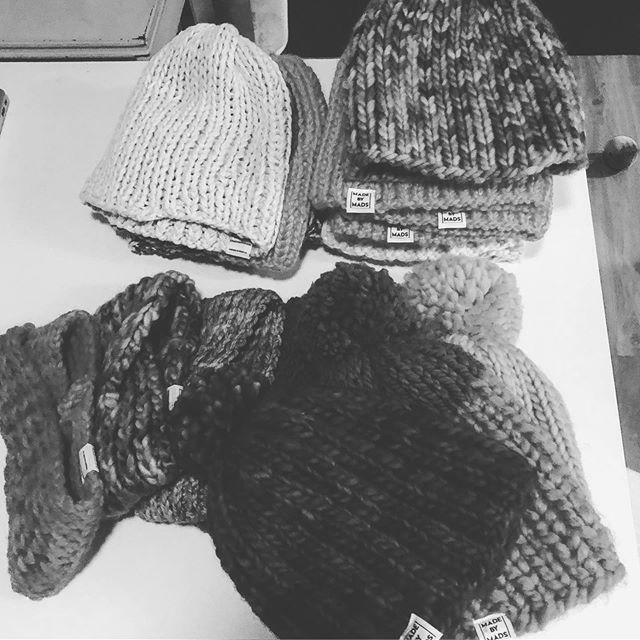Hats on hats. Let the knit marathon begin. #3 weeks till showtime! #madebymadsdesigns @madebymadsdesigns