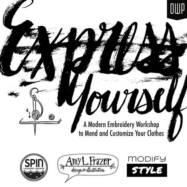 Our @designweekpdx event Express Yourself with the talented @amylfrazer and @modify.style is right around the corner on April 12th! To celebrate, we're giving away a FREE ticket to our Friday workshop at Spin!  Here's how to enter:  1. Like this post 2. Comment below with your go-to laundry tip to extend the life of your clothing  Winner will be announced tomorrow afternoon so stay tuned!  Express Yourself: A Modern Embroidery Workshop to Mend and Customer Your Clothes, is part embroidery workshop and part clothing swap. Participants come in with their favorite, perhaps well worn clothing, and leave with a wearable stitched work of art. We'll discuss why mending matters, expressing yourself through stitching, the importance of making your clothing last longer and ways to extend the life of your clothing, keeping it out of landfill. Join us for a fun evening of leaning, sharing and fun! Click the link in bio for details and to sign up.  #expressyourself #designweekportland #amyfrazer #portlandvintage #portland #oregon #eatdrinklaundry