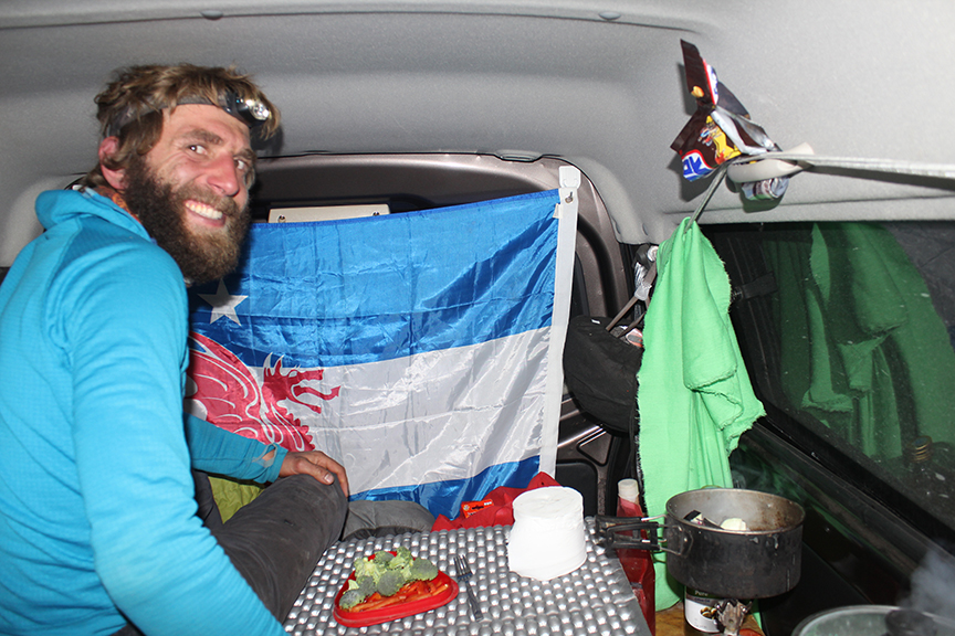 It may be -15C outside, but it's warm in the van with 2 stoves and the heater running...