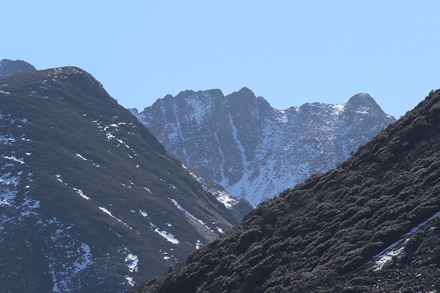 Some of the distant ridgelines that we thought had good gullies. How wrong we were about their quality...