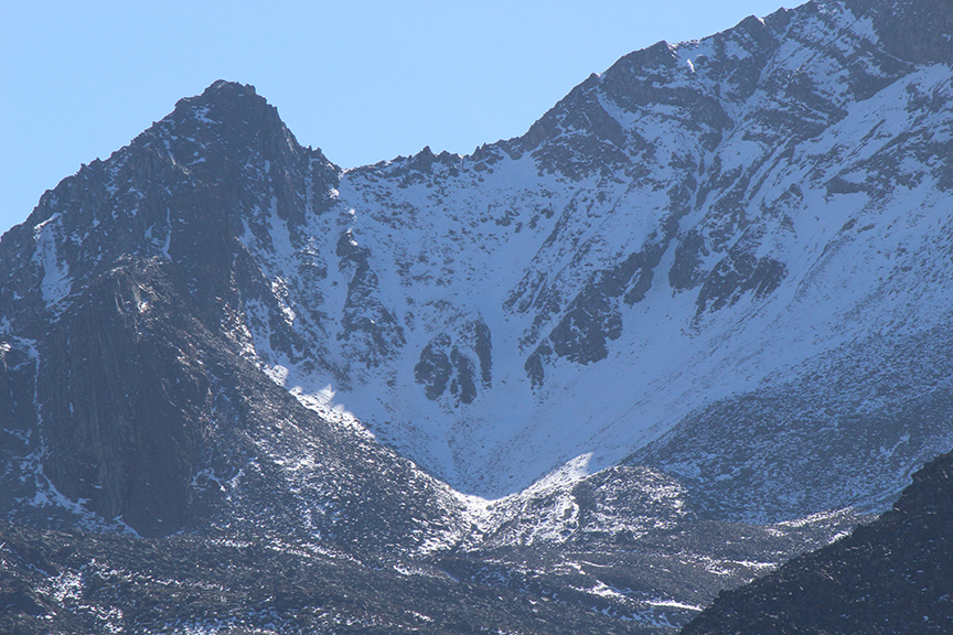 Some of the (slightly) better snow couloirs on the northwest side of the mountain.