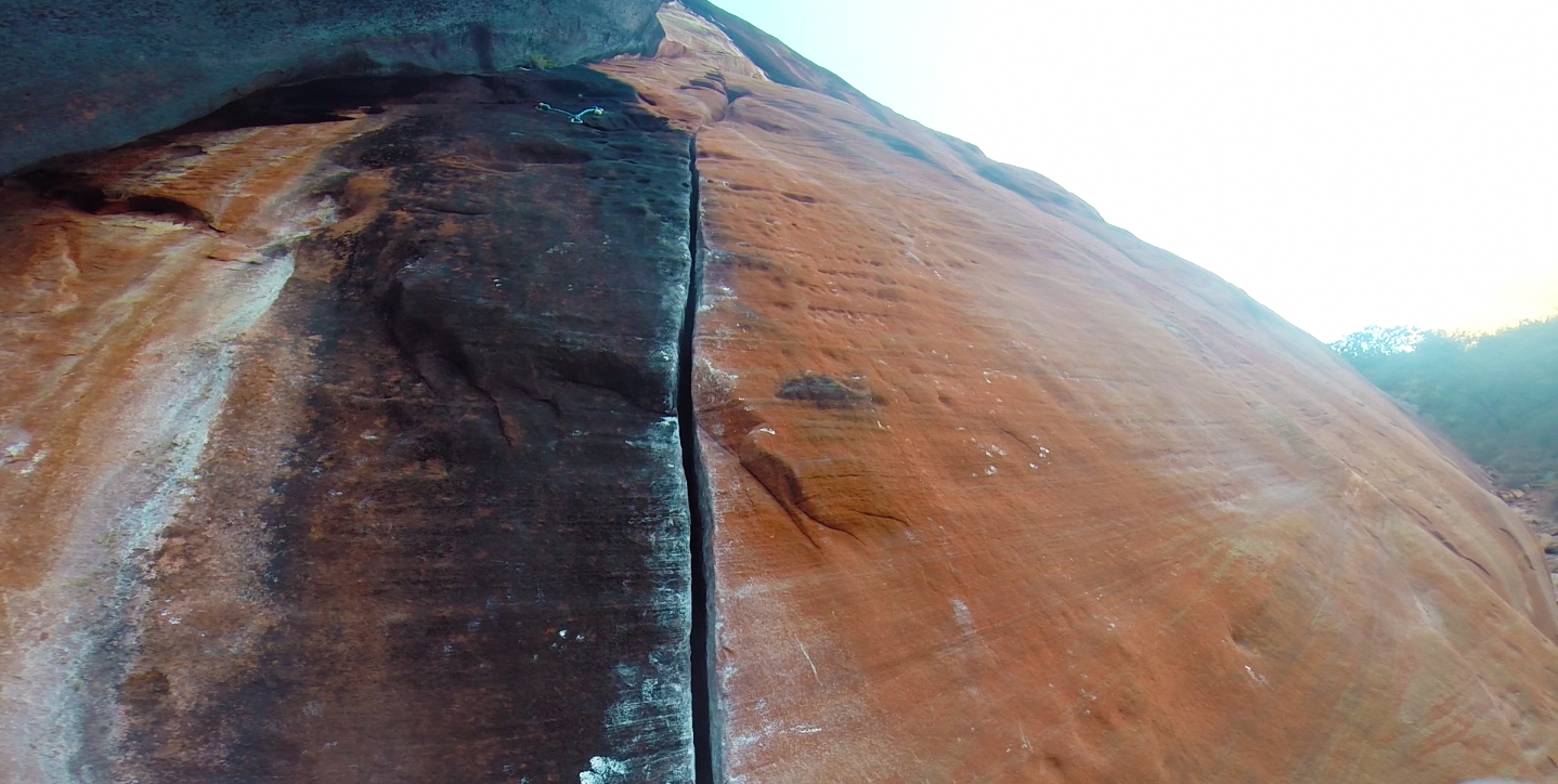 A leader's point of view of the crux ring lock crack on  Ding Dong's Crack .
