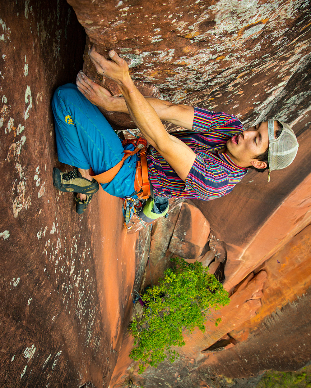 Knee bar at the crux's exit moves.  © Irene Yee/Lady Lockoff Photography