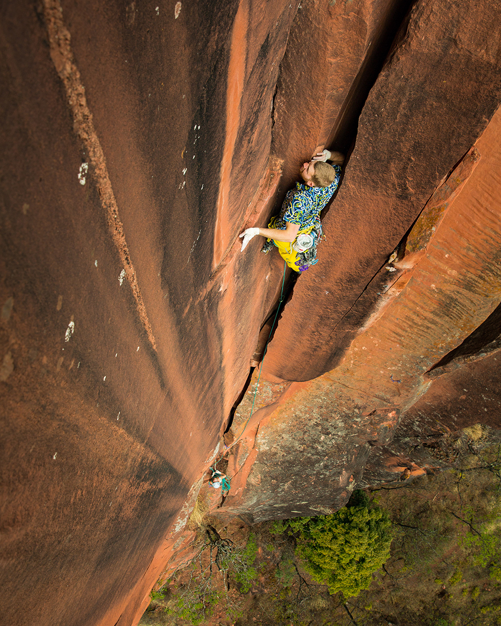 Danny Parker on the classic P2 offwidth of Elephant Riders.  © Irene Yee/Lady Lockoff Photography