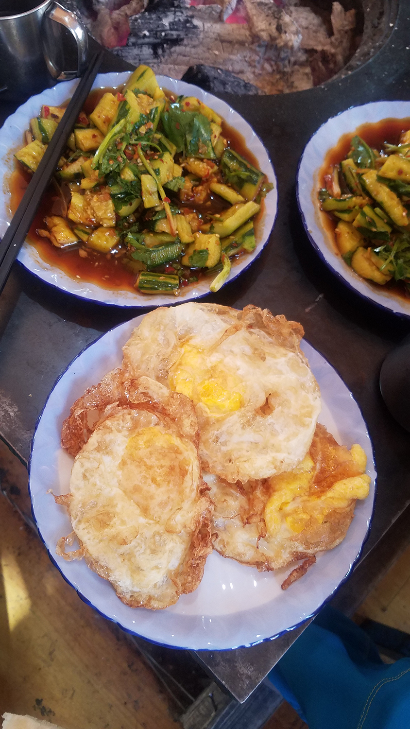 Some eats in the local climber's canteen, Shiguang Restaurant, Liming Village, Yunnan