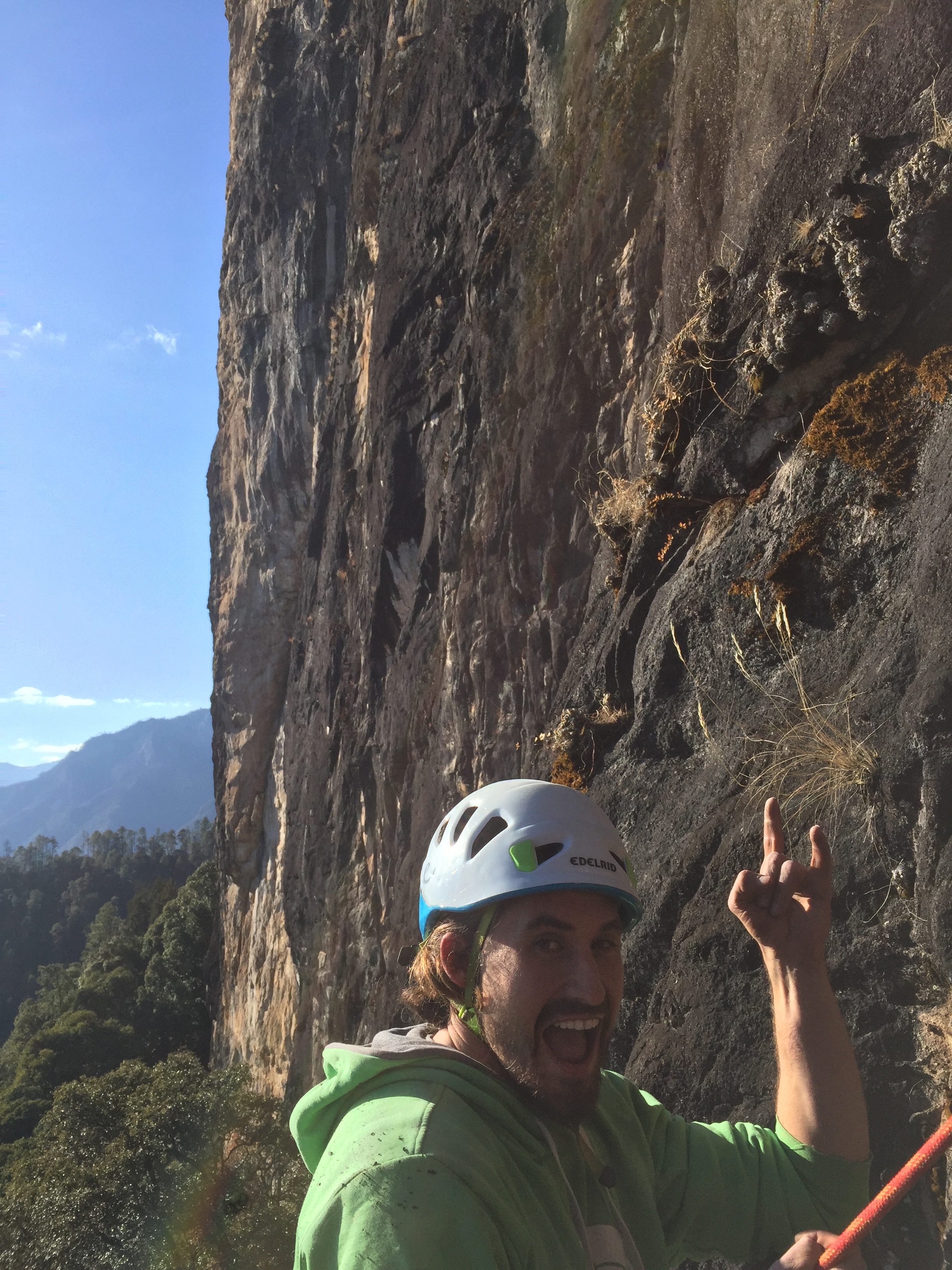 Dane shows his stoke for the enormous amount of climbable rock on the Baiyansi massif.