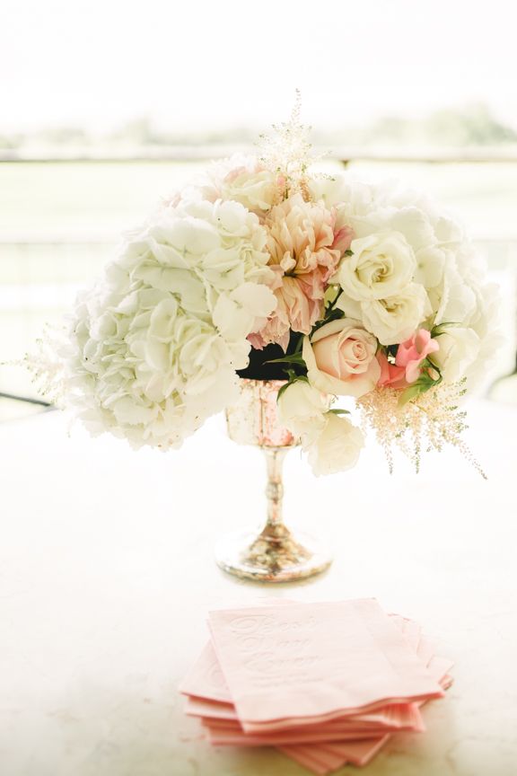 Blush Wedding Centerpiece 3 Leaf Floral