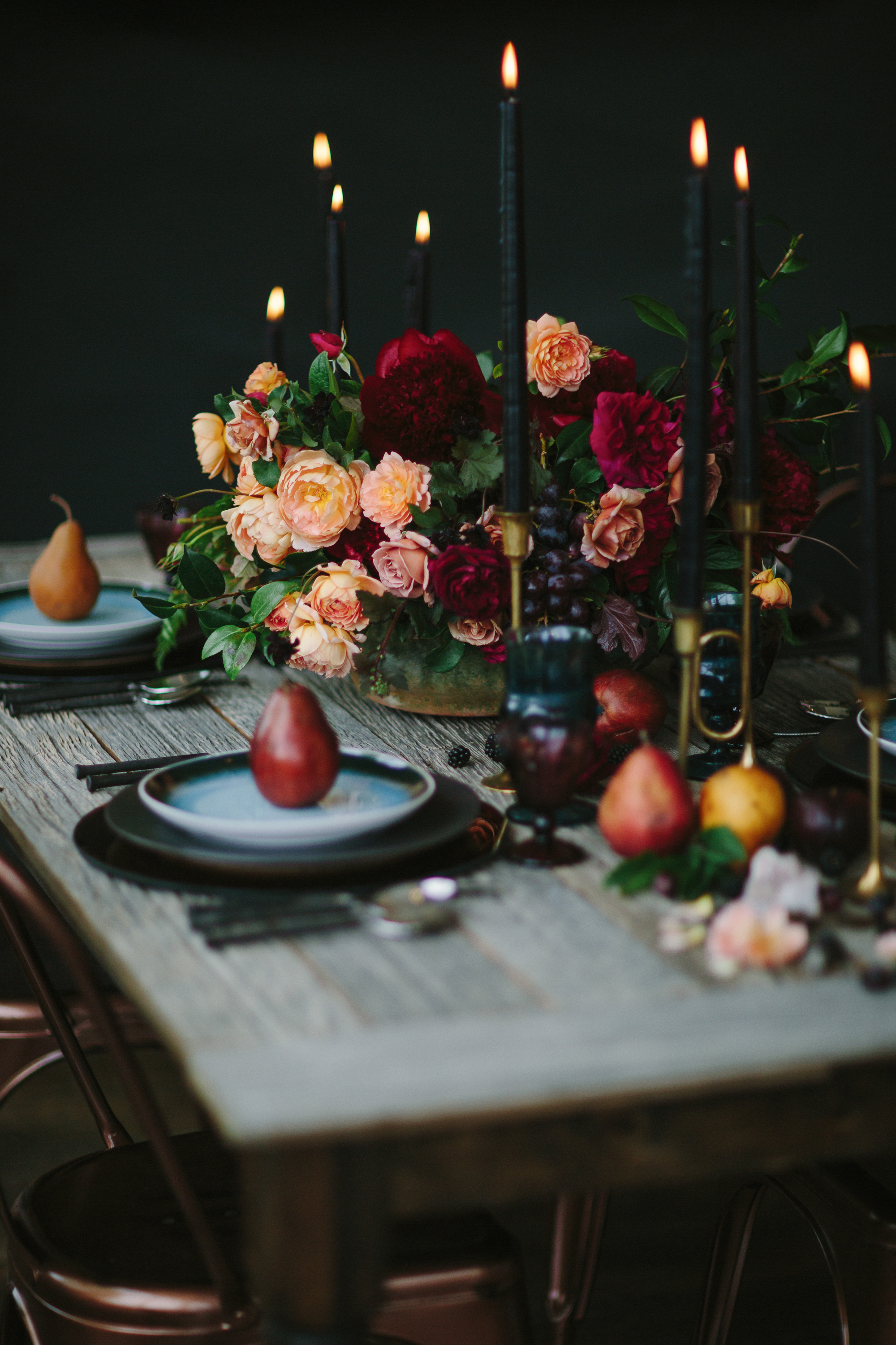 Moody Autumn Centerpiece 3 Leaf Floral