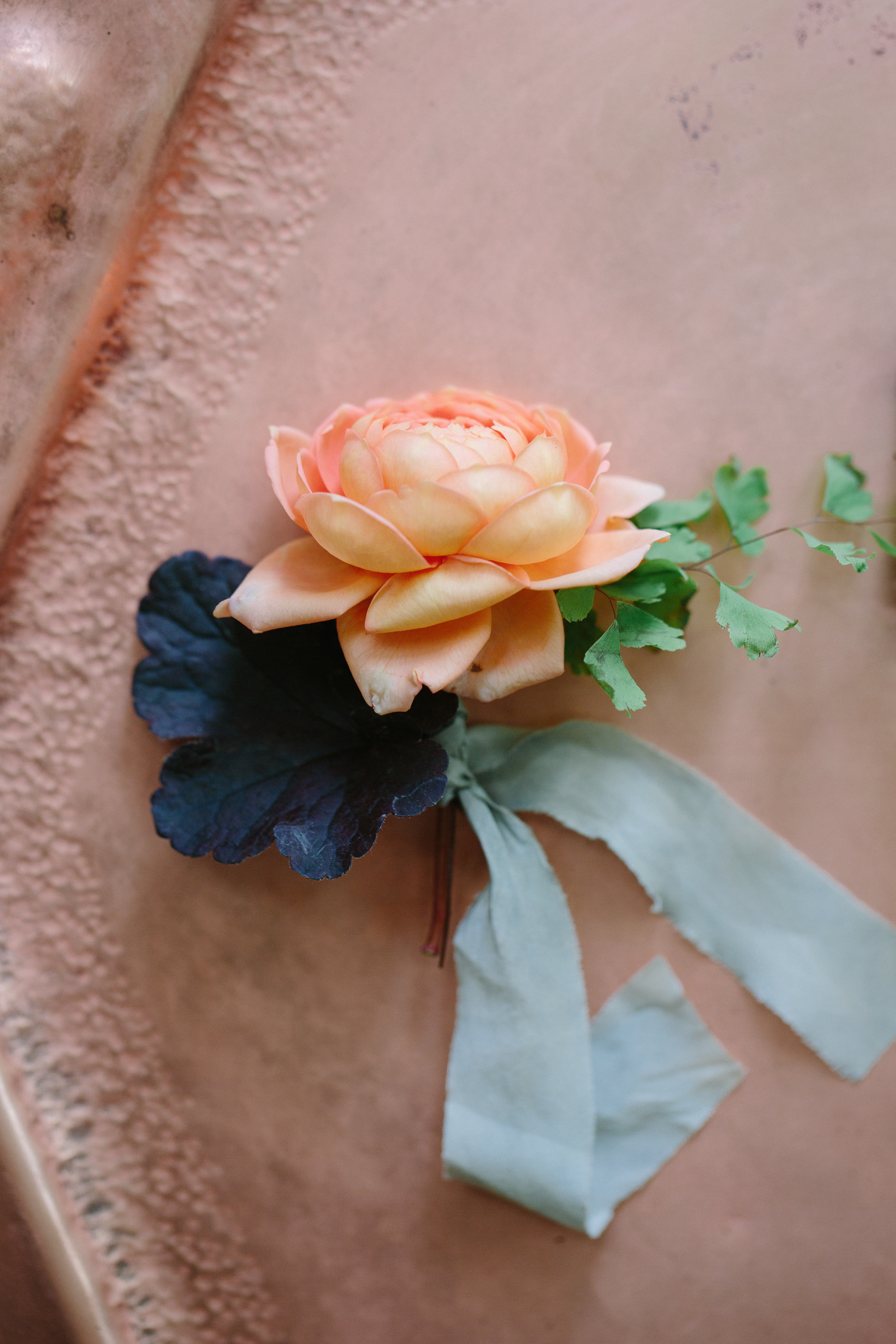 Copper Boutonniere 3 Leaf Floral