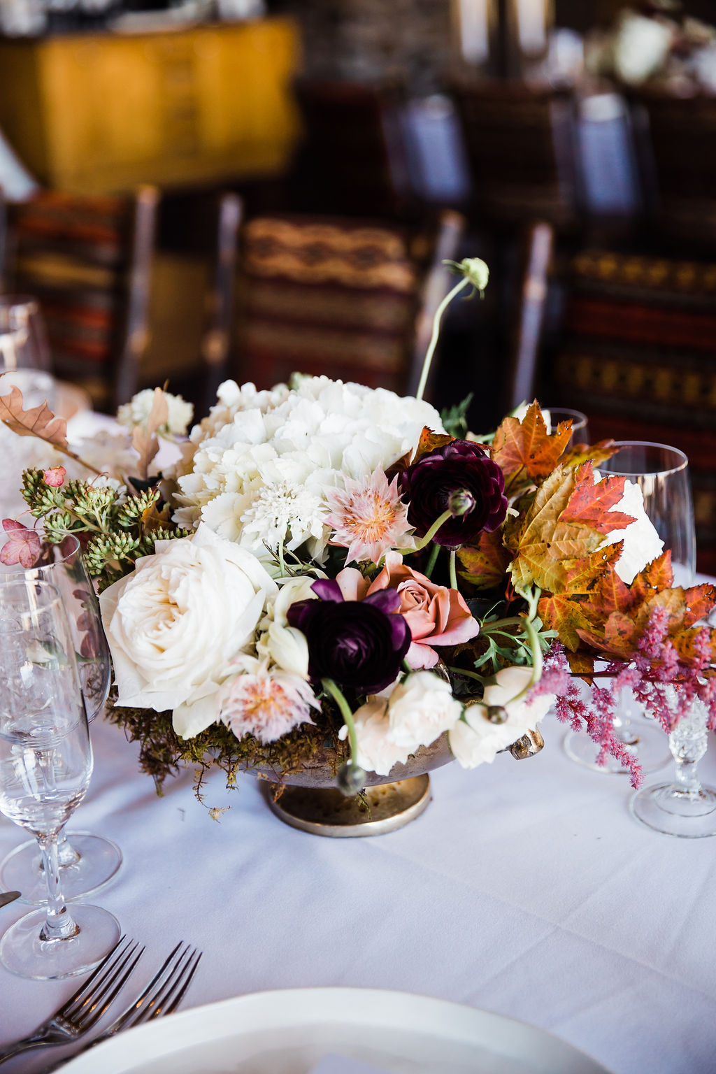 Fall Wedding Centerpiece at Allred's Telluride Wedding
