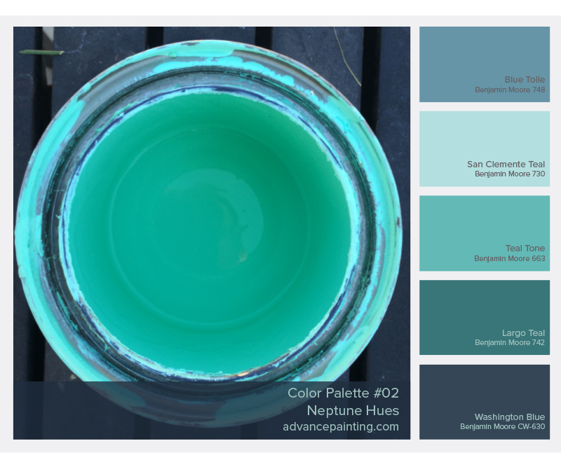 Neptune Hues Color Palette | Benjamin Moore Colors: Blue Toile, San Clemente Teal, Teal Tone, Largo Teal, Washington Blue