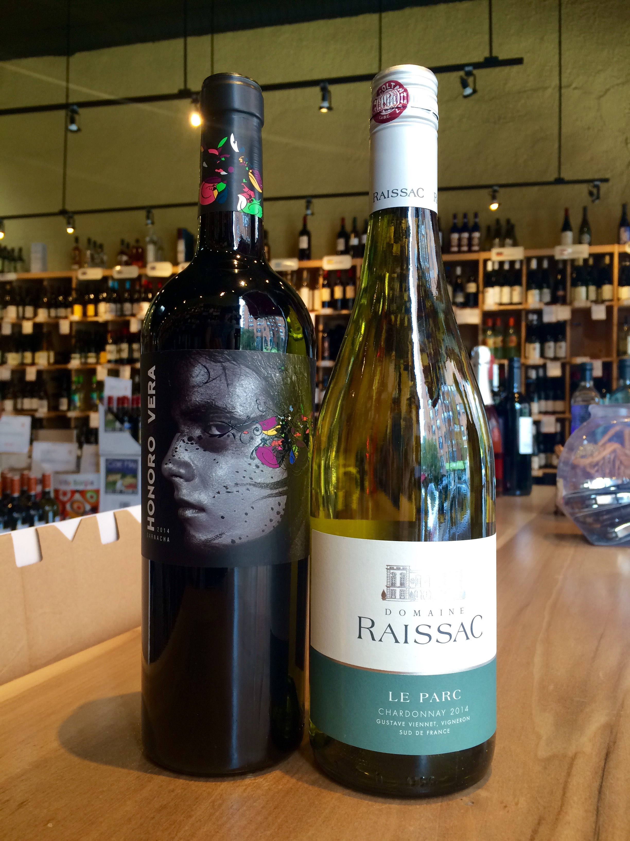 2014 Honoro Vera Garnacha and 2014 Domaine Raissac Chardonnay