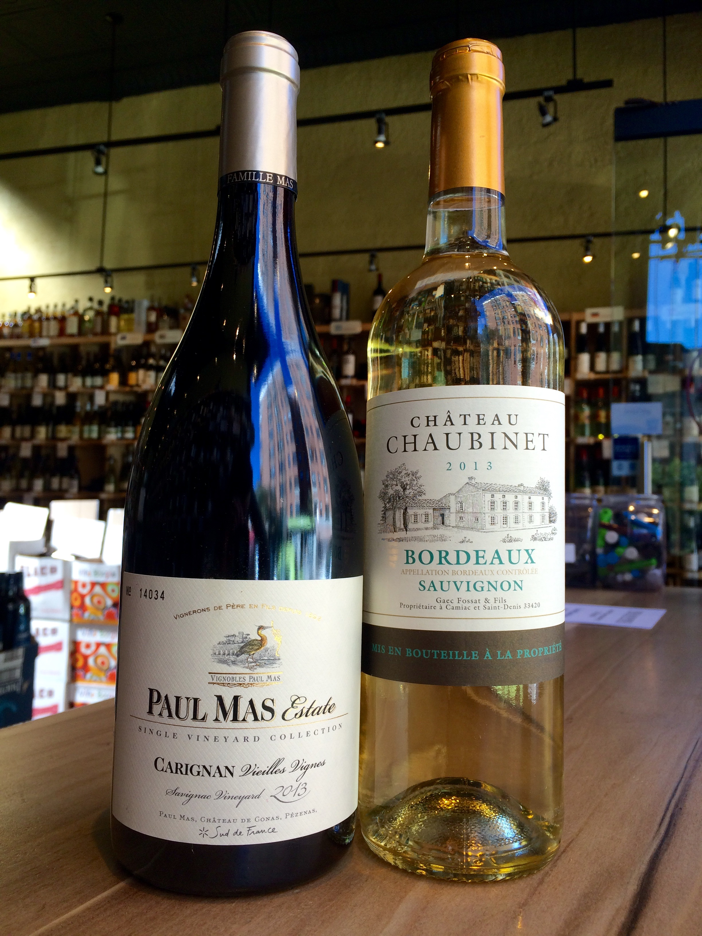 2013 Paul Mas Estate Carignan and 2013 Chateau Chaubinet Sauvignon