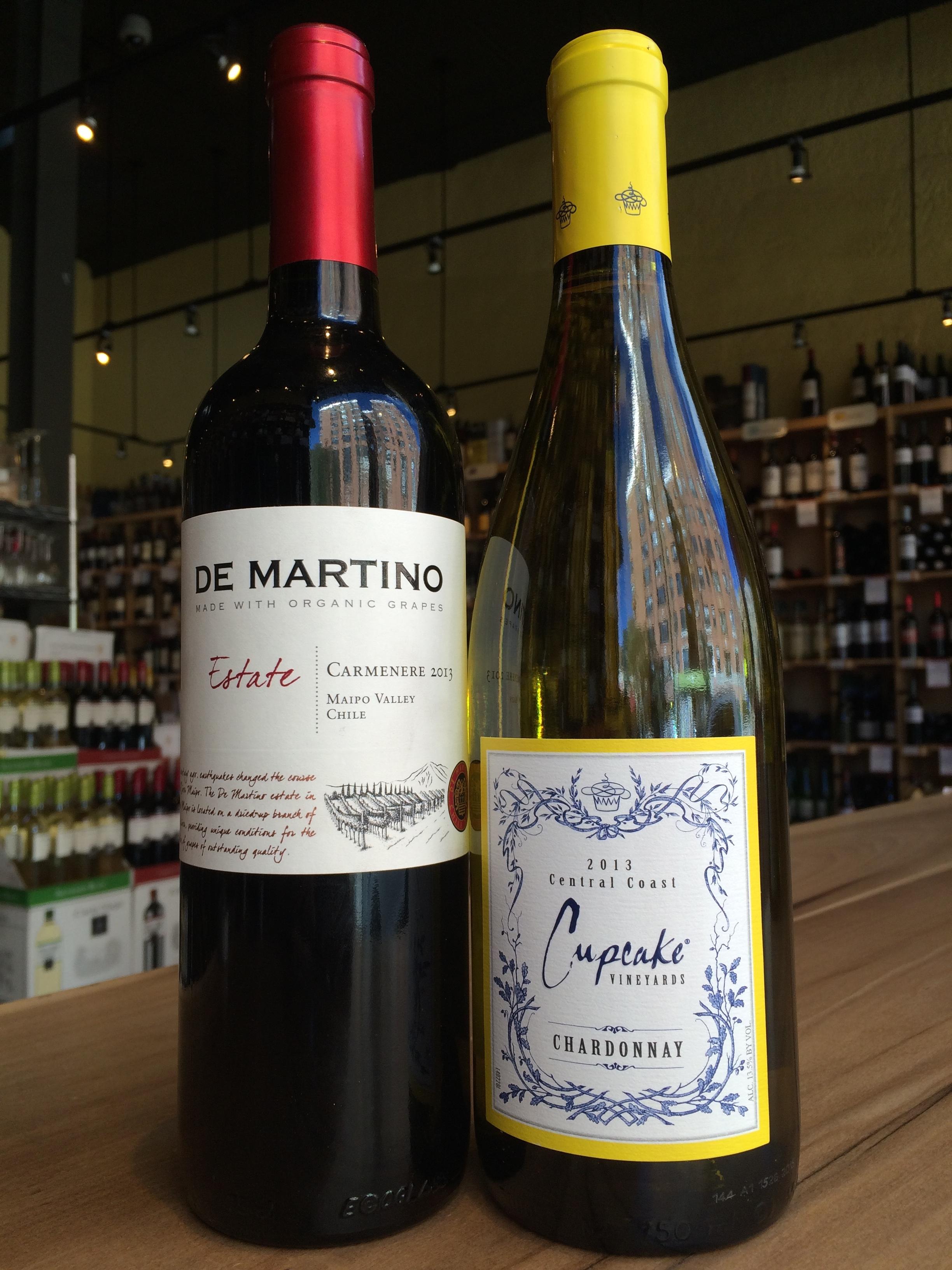 2013 De Martino Carmenere and 2013 Cupcake Chardonnay