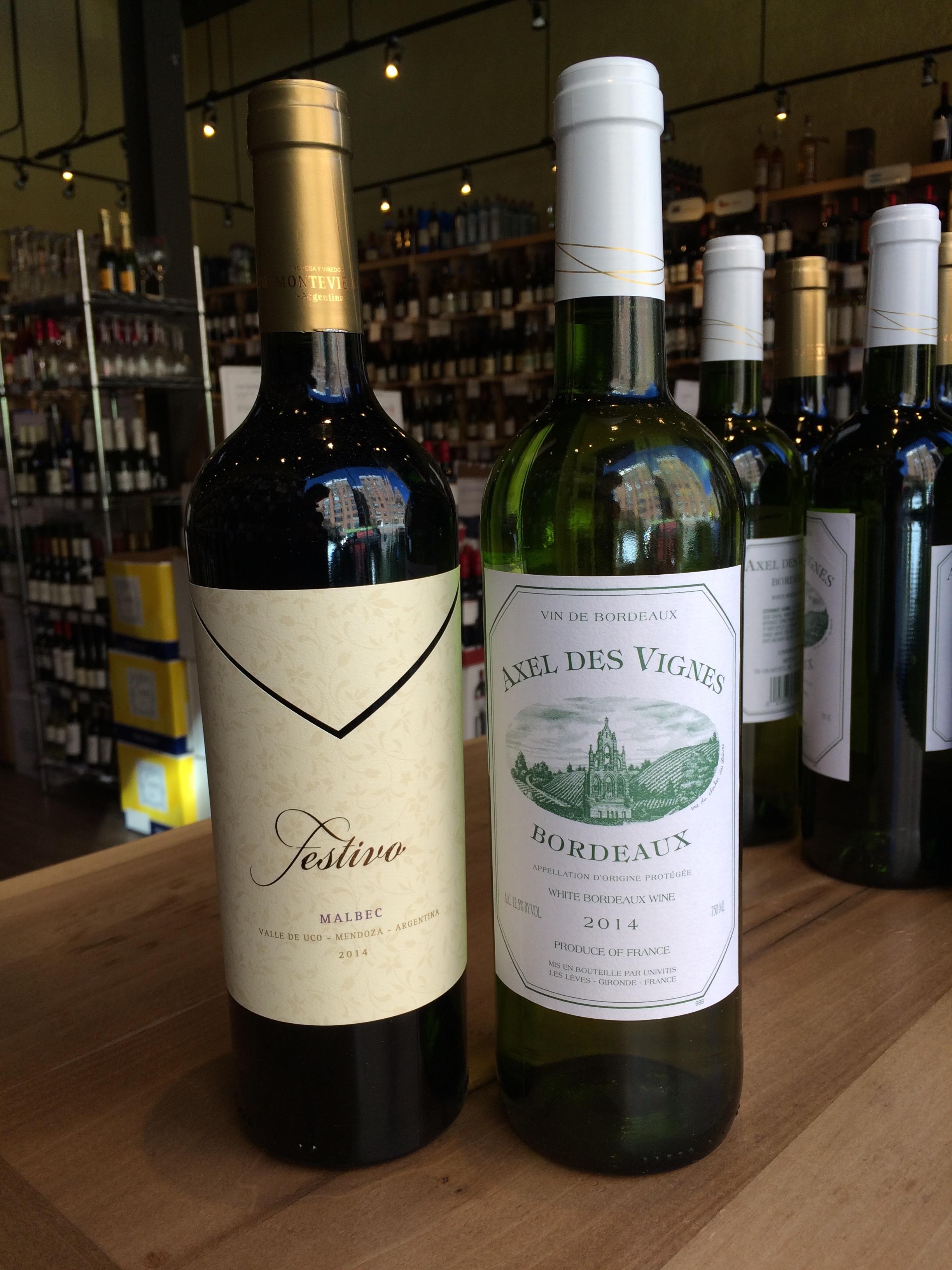 2014 Festivo Malbec and 2014 Axel de Vignes Sauvignon Blanc Bordeaux