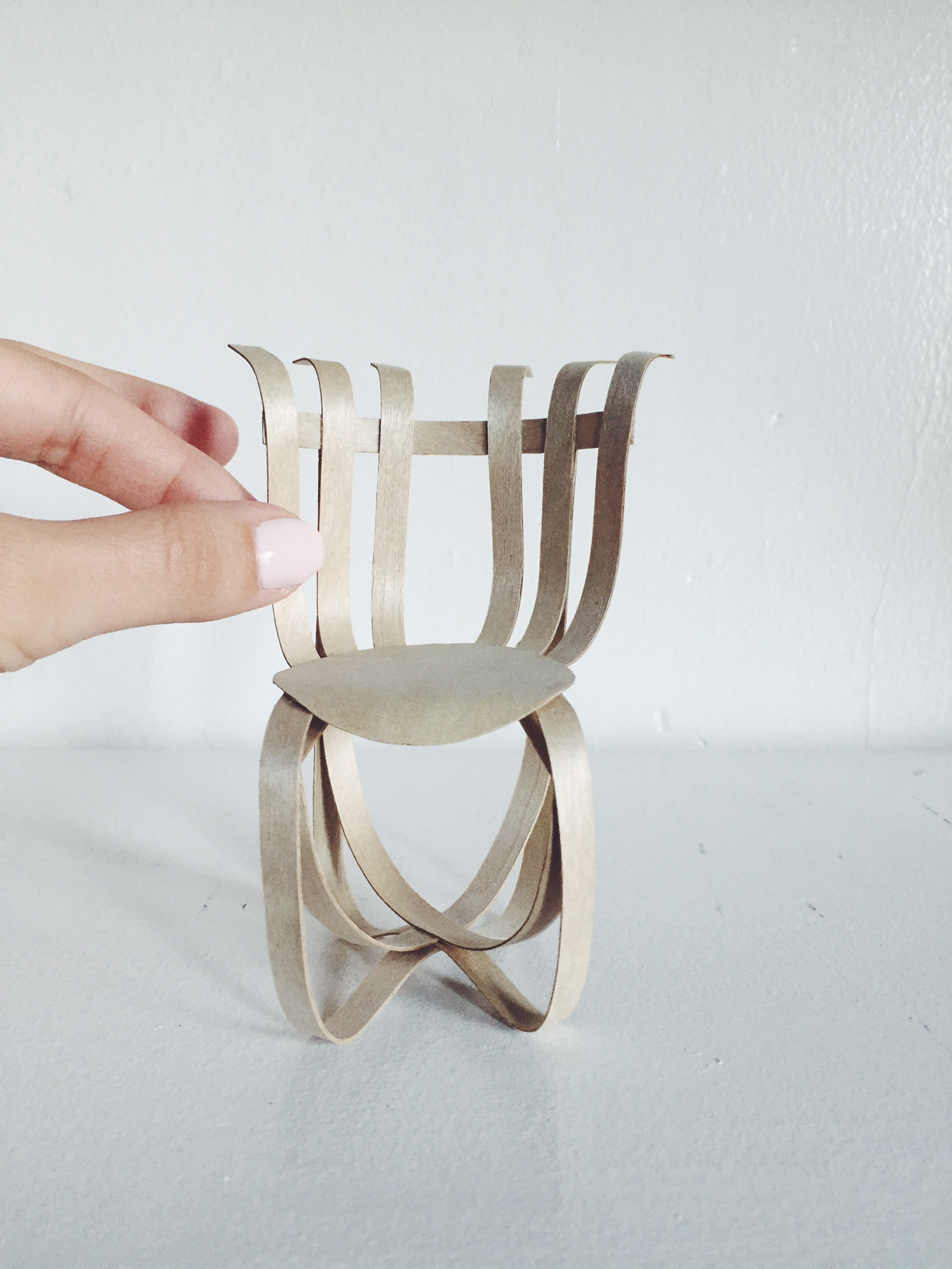 Hat Trick Chair. Designed by Gehry, miniaturized by me.