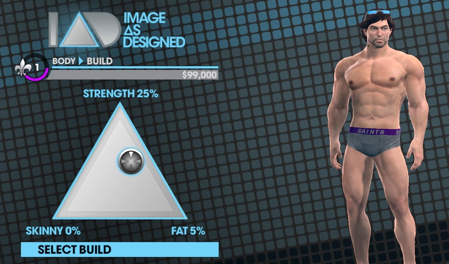 The body build triangle from  Saints Row: The Third.  The same system is used in  Saints Row 4.  Personal screenshot from  Saints Row: The Third,  by Volition, November 15, 2011.