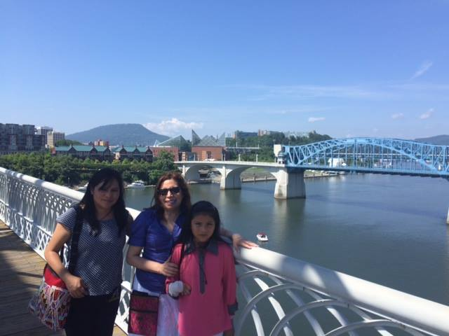 Lorena Guiselle and Elsa Lorena on the Walnut Street Bridge, Chattanooga, TN