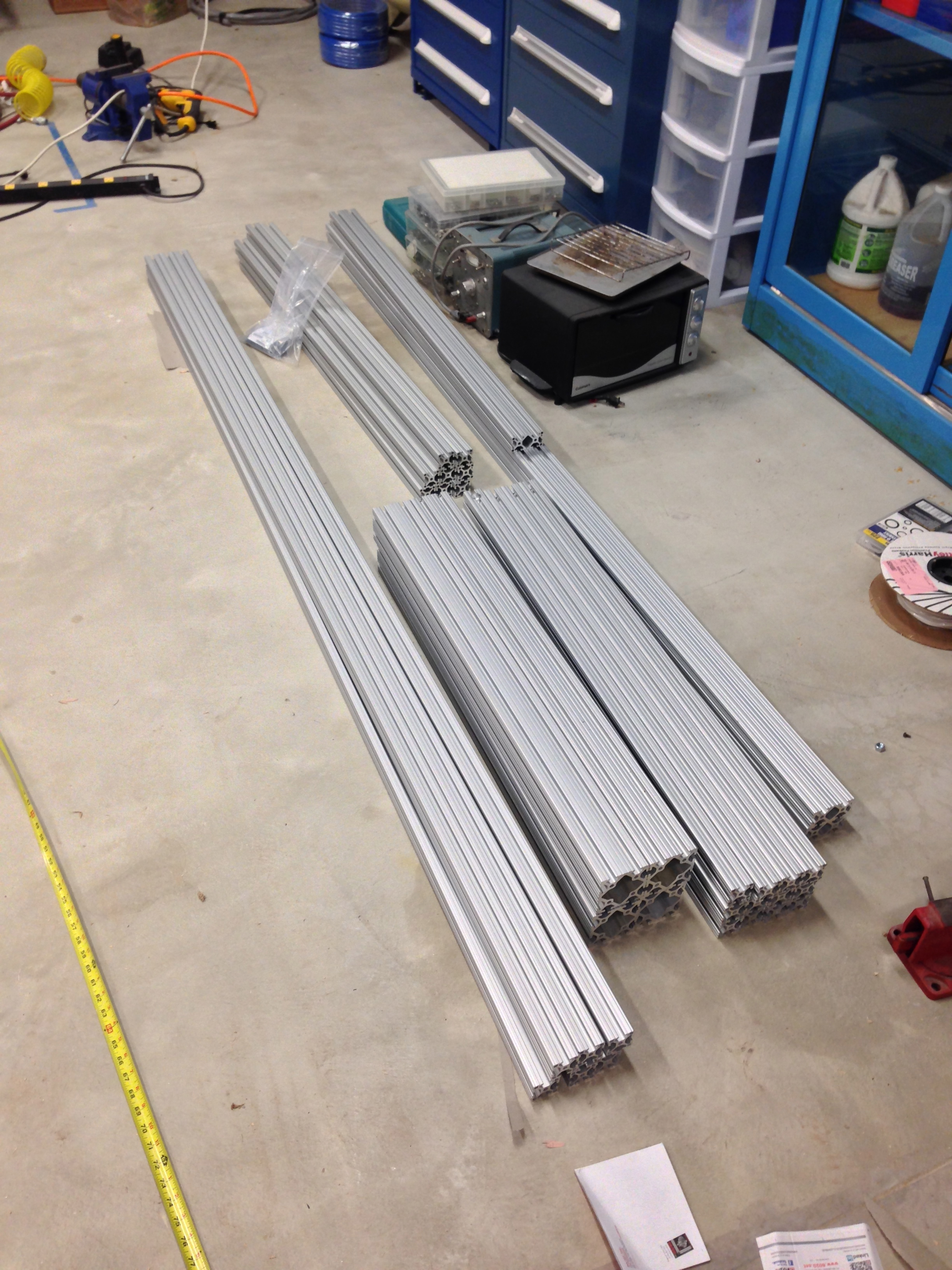 8020 aluminum for the work benches and sink counter legs.