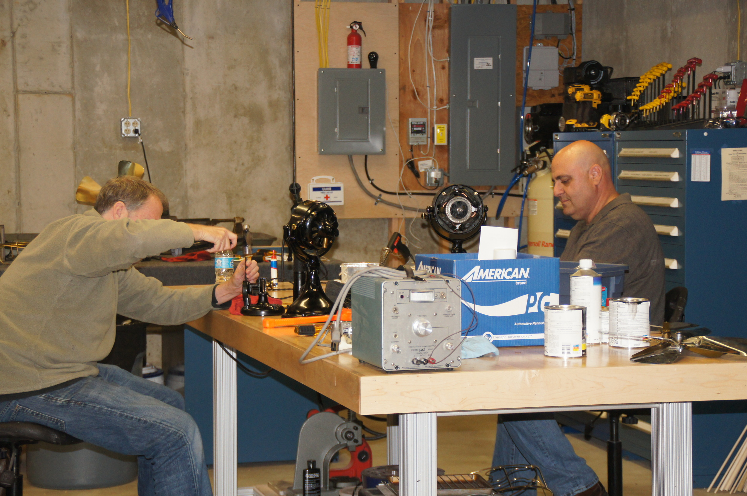 Steve Gilmore and Rich Becher hanging out and working on their fans in my shop.