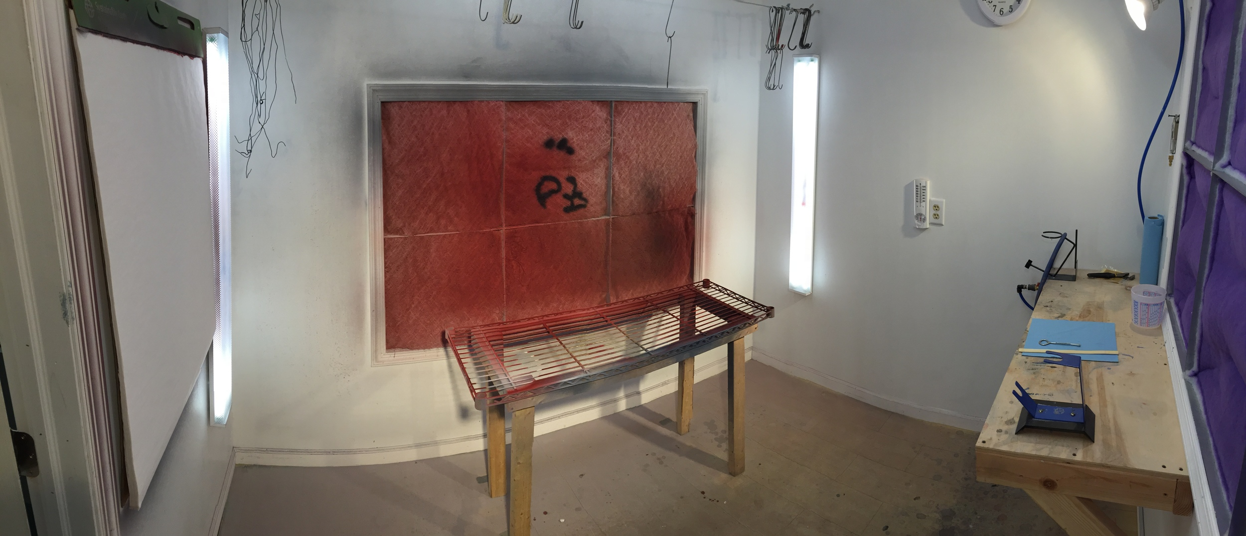 A pano showing the paint booth. The booth itself is about 9x9' and vented to the outdoors. There is an electric heater within it to keep it at a constant temperature for painting.