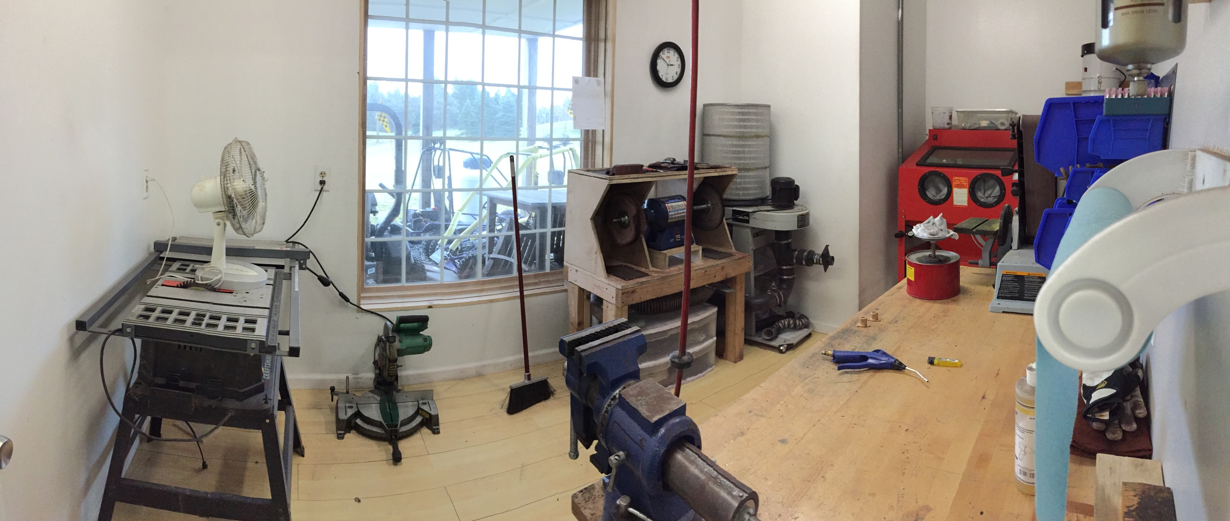A pano showing the dust room. I pack a lot of tools into this room. It's worth having these mess generators within their own room to keep the rest of the shop clean.
