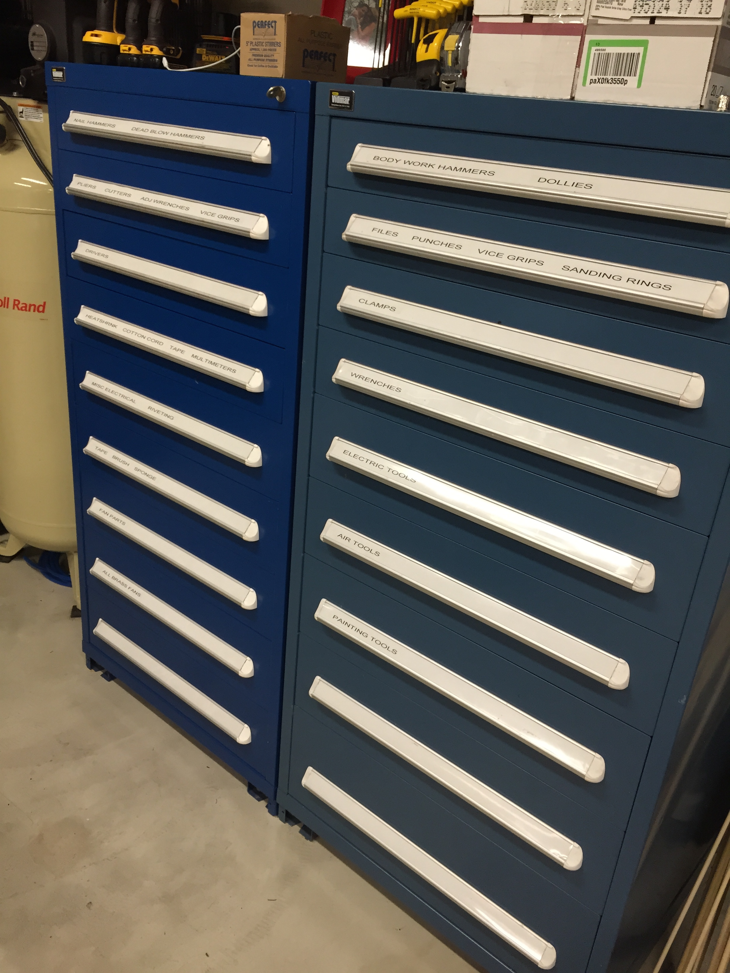 Two tall Vidmar storage cabinets. Probably my absolute favorite tools. Each drawer can hold over 300lbs worth of tools.