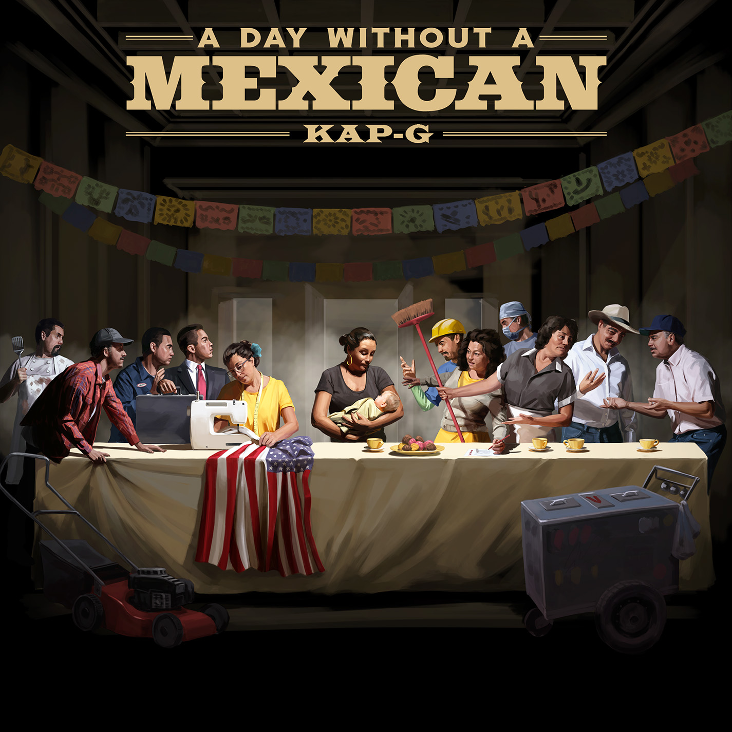 Kap G - Day Without a Mexican single art. Illustration by The Red Dress