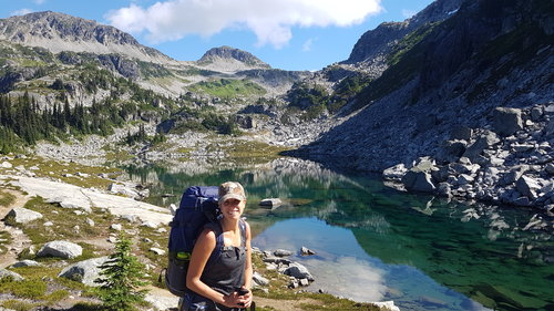 Guided backpacking client, Arrowhead Lake.jpg