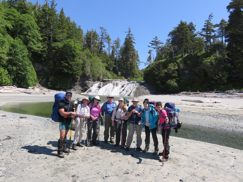 Guided backpacking group, Calvin Falls, Nootka.JPG