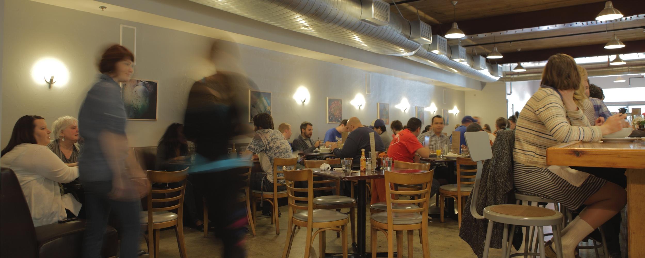 People at restaurant. Photo: Jane Kortright.