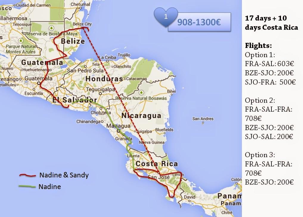 Nadine's Central America route