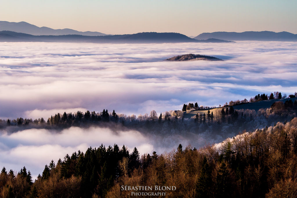 A sea of clouds in the hills of Polhov Gradec, close to Ljubljana, the capital city of Slovenia