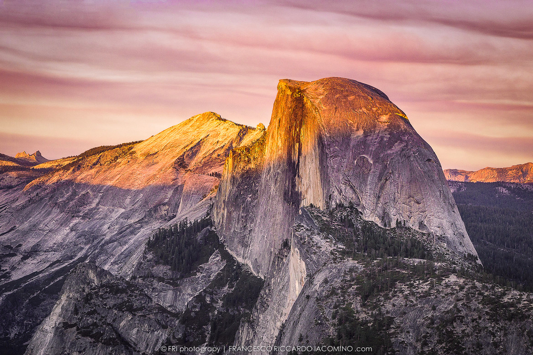 Half Dome in Glacier Point at sunset, California
