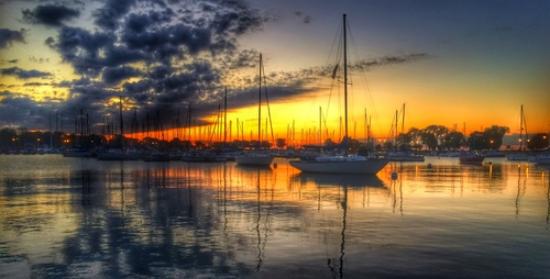 Montrose Harbor at Sunrise in Chicago by Ronnie Charrier